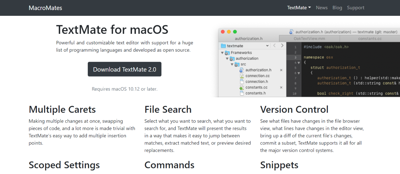 Textmate: Code editor for developers