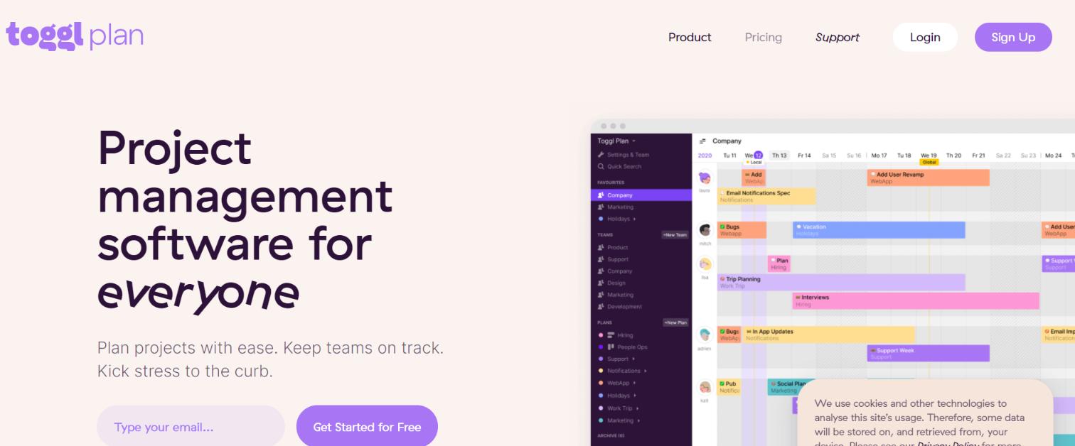 Toggl plan: Team management software