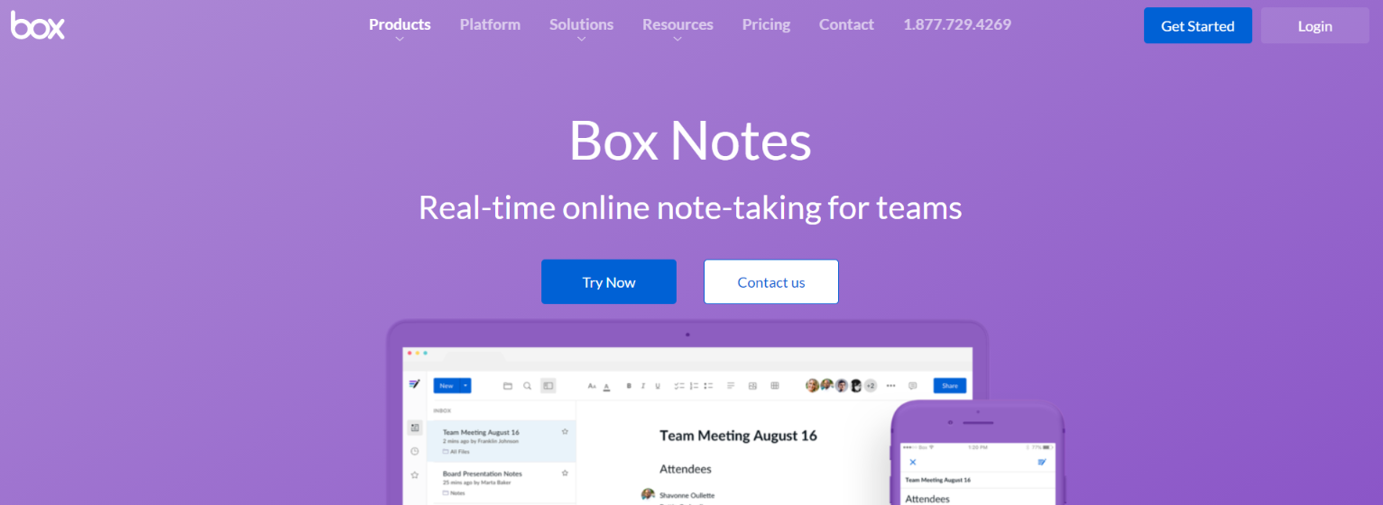 Box notes: Collaborative document editing software