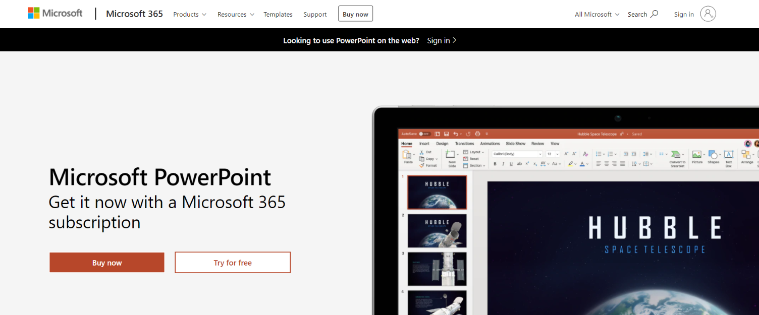 Microsoft Presentation: Student tool for presentations