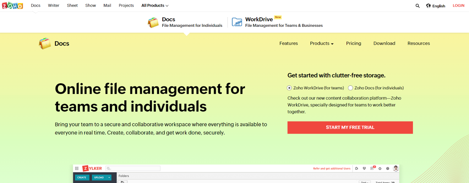 Zoho docs: Collaborative document editing software