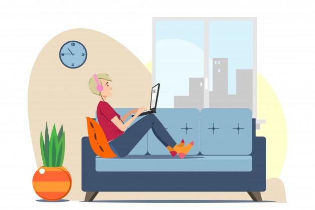 A tech geek reading online