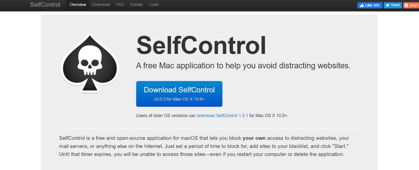Self control: Focus app