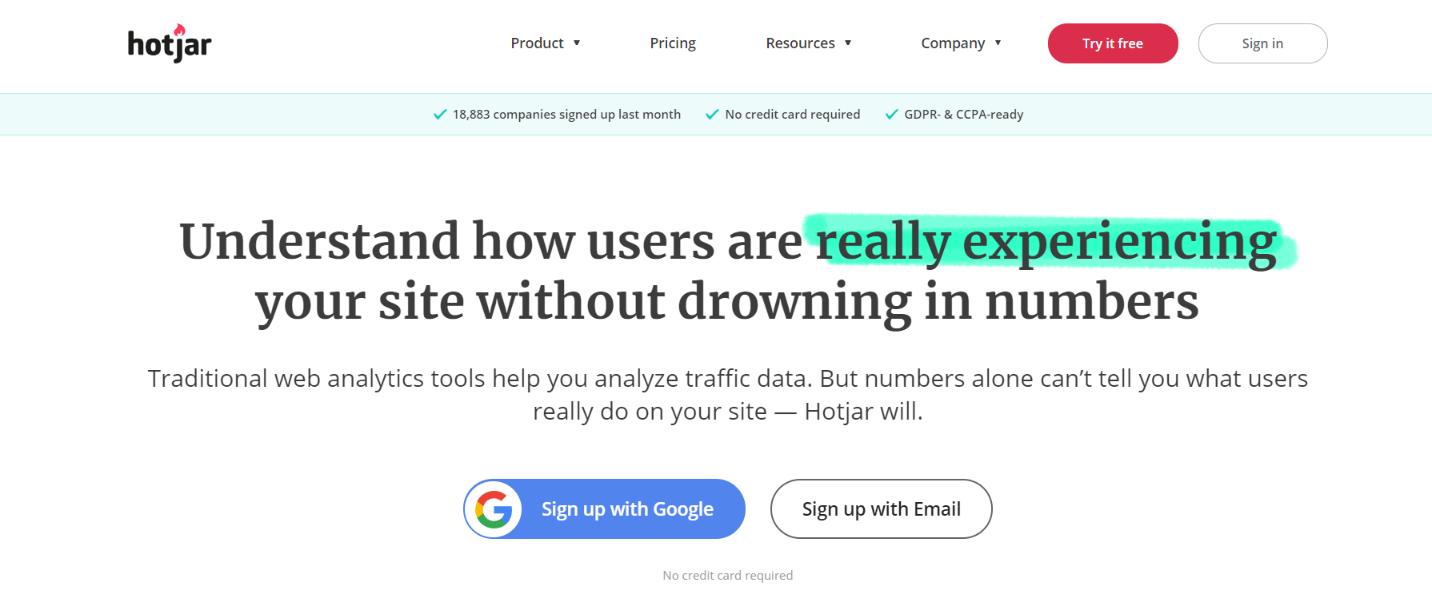 Hotjar: Customer analytics tool and software