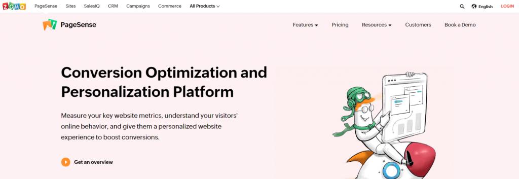 Zoho pagesense: Customer analytics tool and software