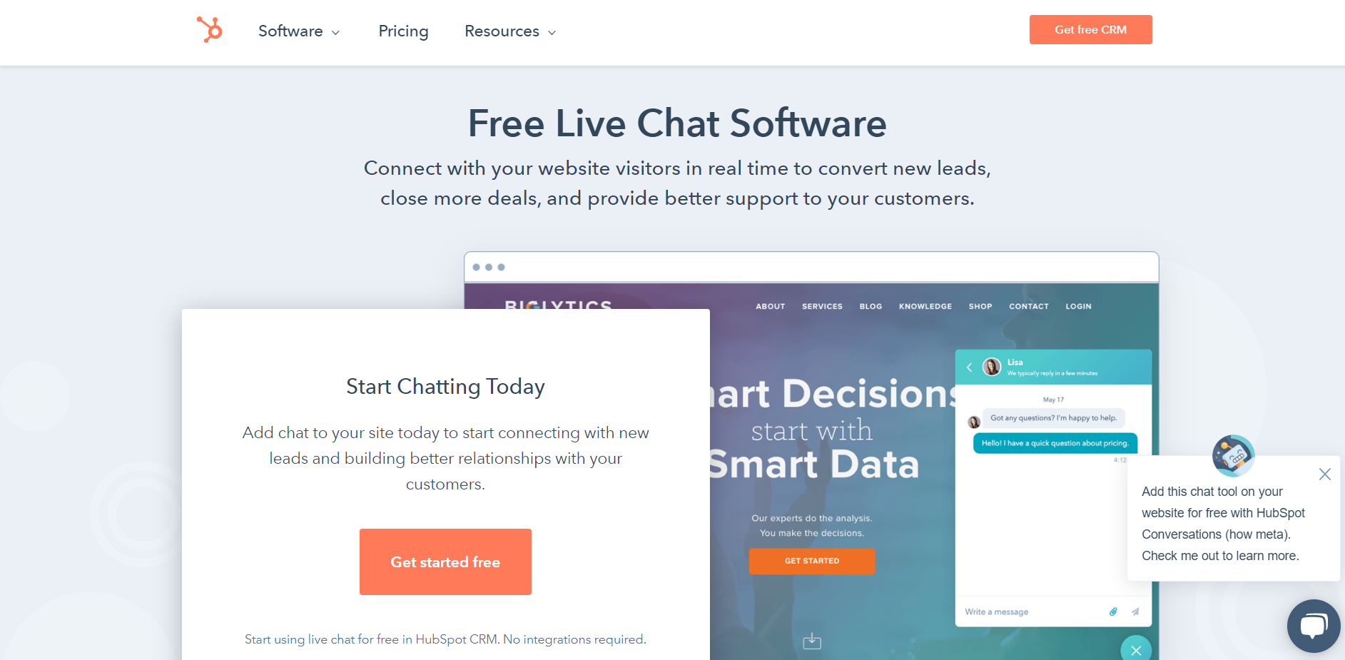 Hubspot live chat: Live chat software