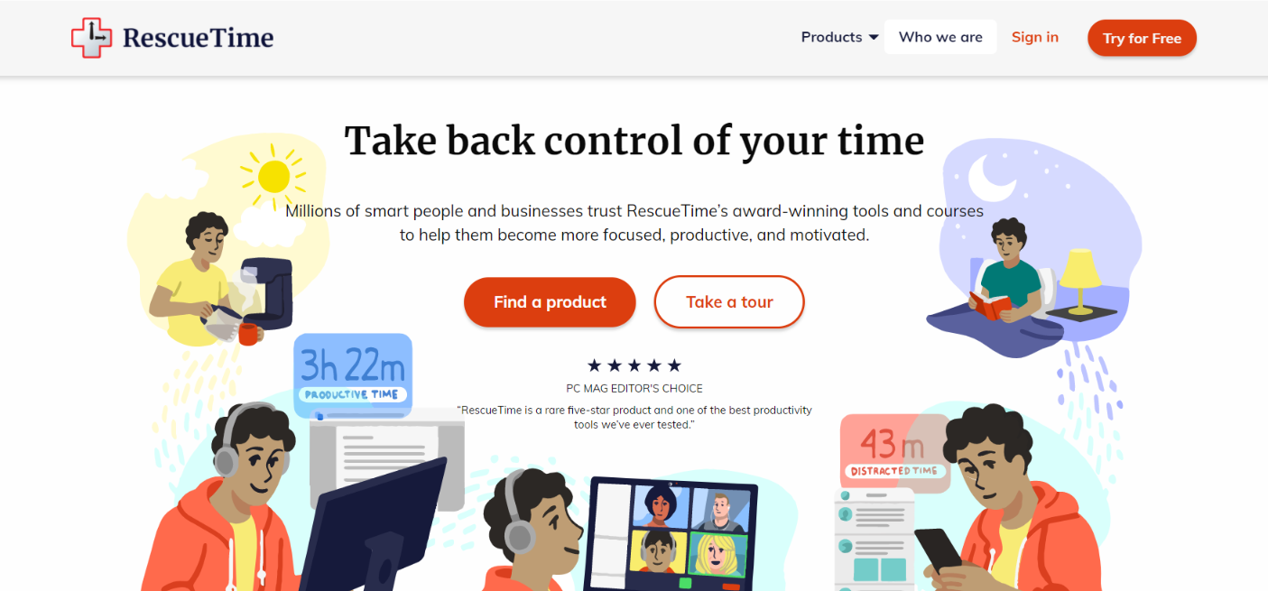 Rescuetime: Time tracking software and tool