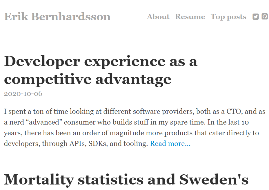 Erik bernhardsson: Programming blog and website