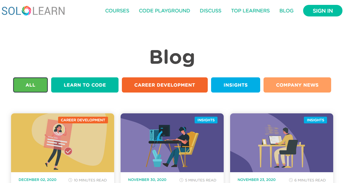 Sololearn: Programming blog and website