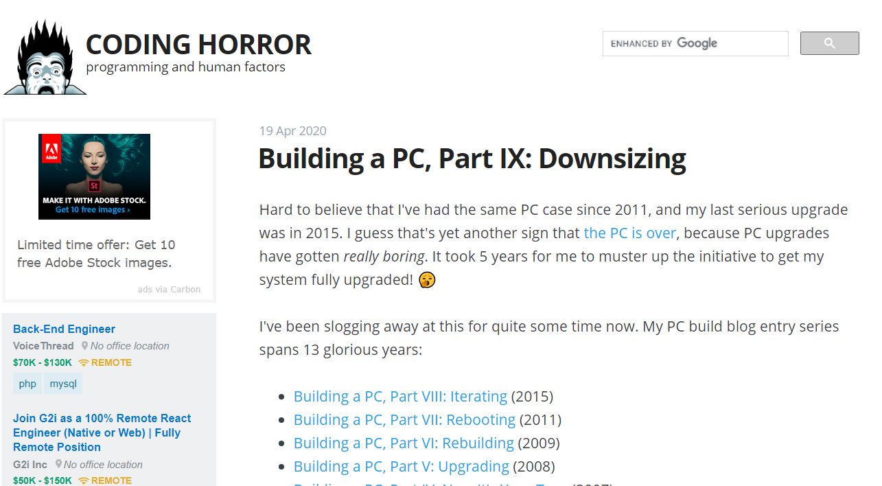 Coding horror: Programming blog and website