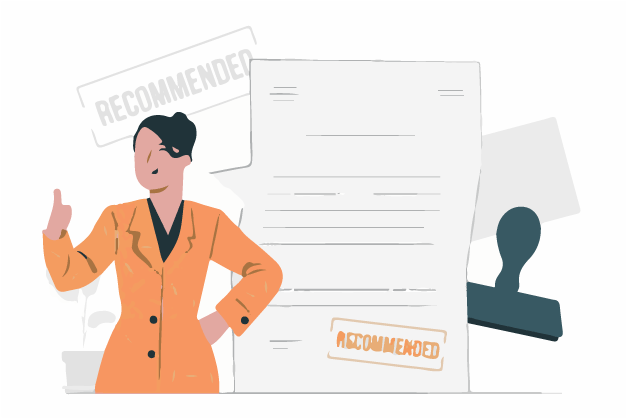 A women getting recommendation for new workplace