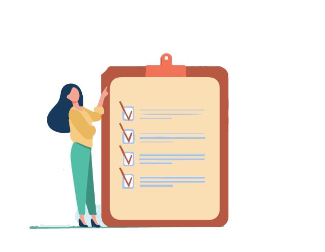 An employee creating a list for technical description