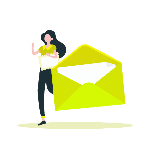 A lady creating a business letter