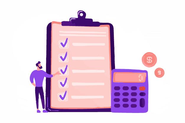 A salesman calculating the sales revenue