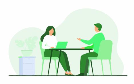 A man giving an interview for internship