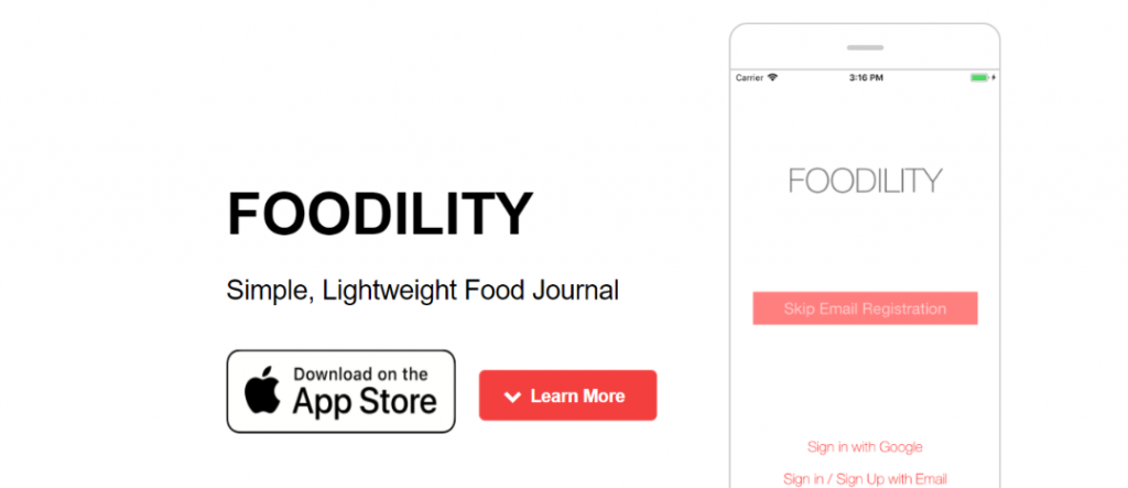 Foodility app: Journal and Diary App