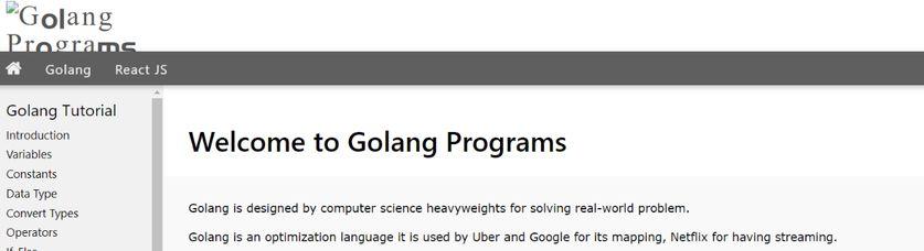 Golang Programs: Programming blog and website