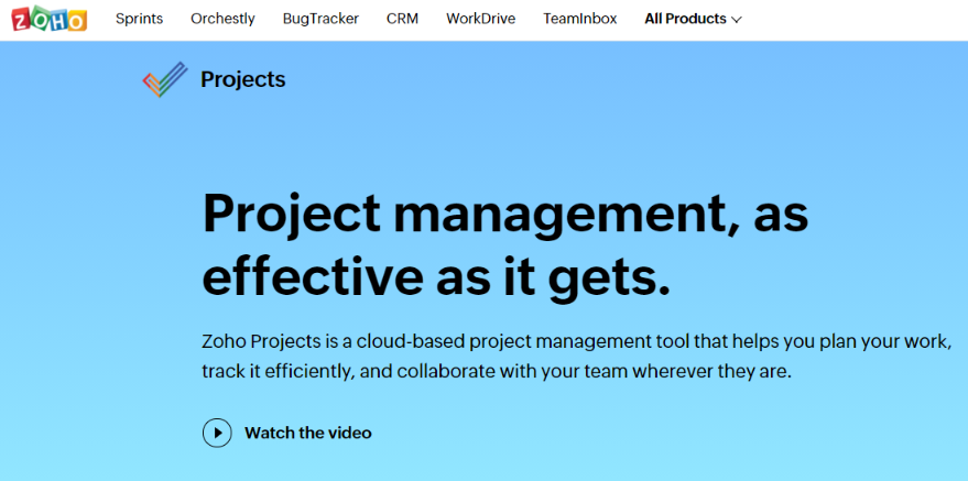 Zoho projects: Virtual Workspace Tool