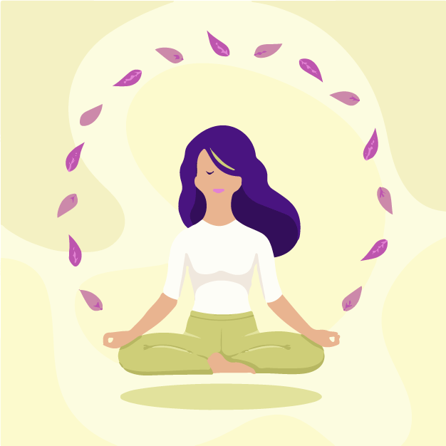 A lady doing meditation