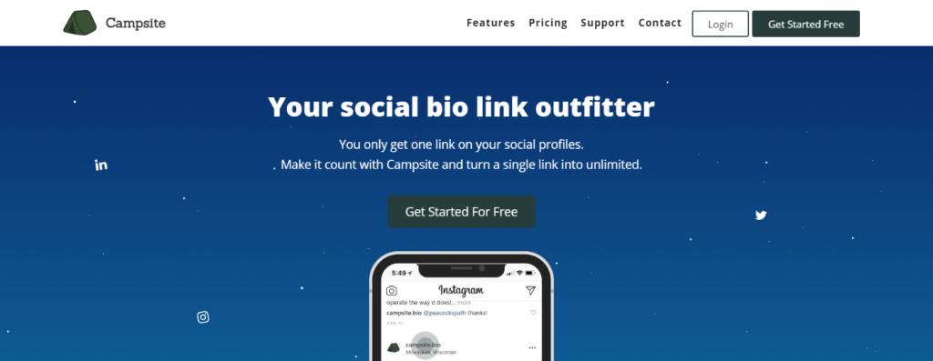 Campsite: Link in bio tool