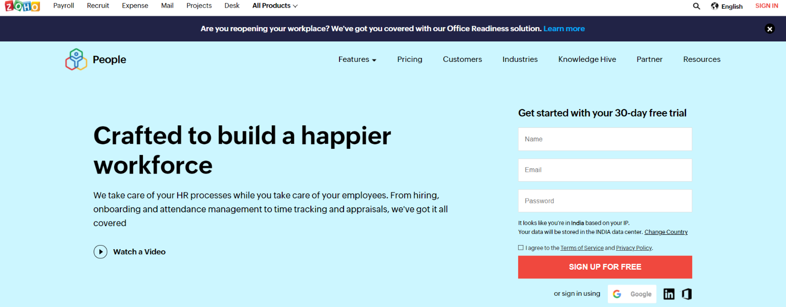 Zoho people: HR Software and Tool