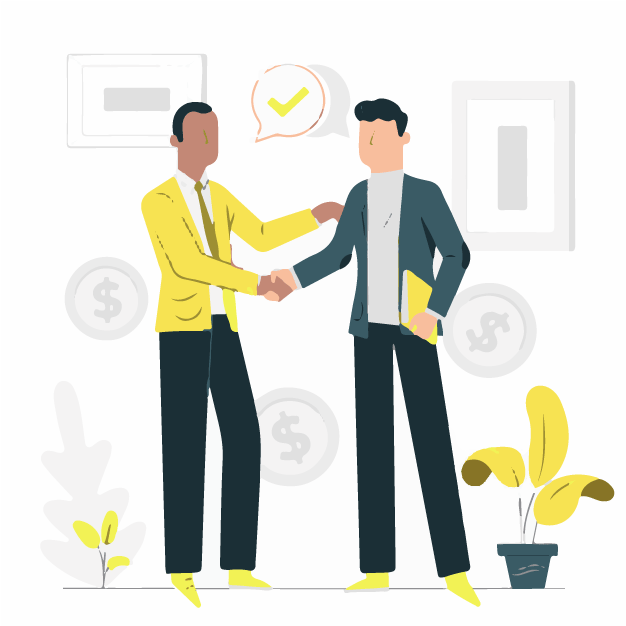 Two clients making money after a deal