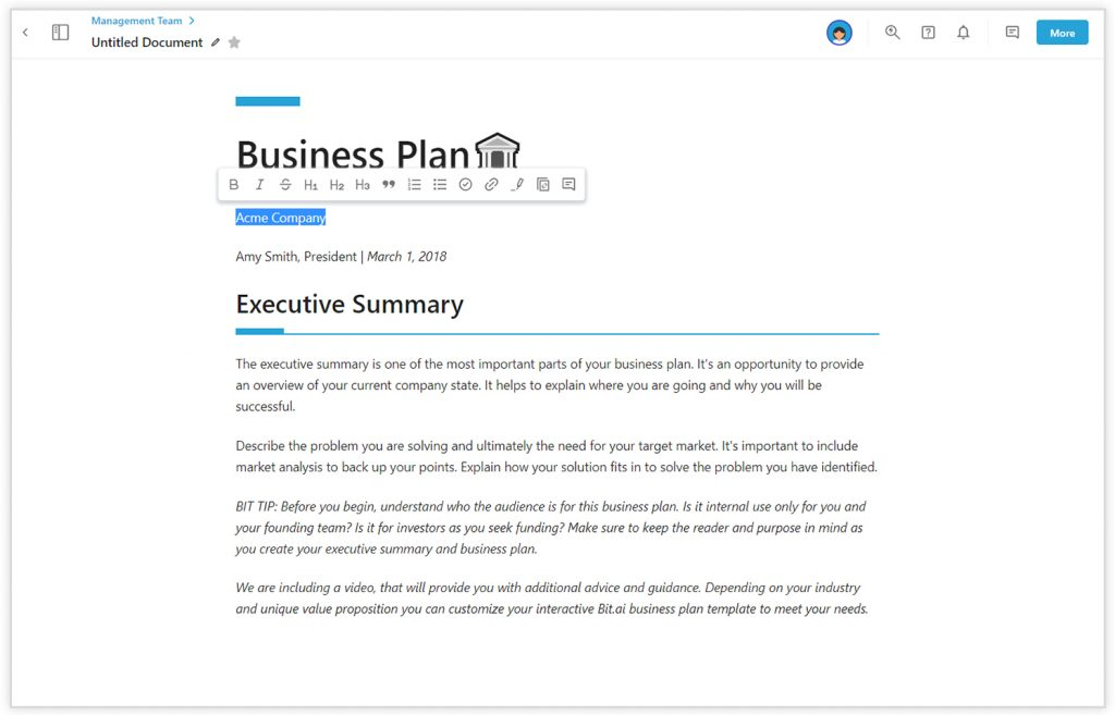 Bit's sleek editor for creating awesome looking sales proposals