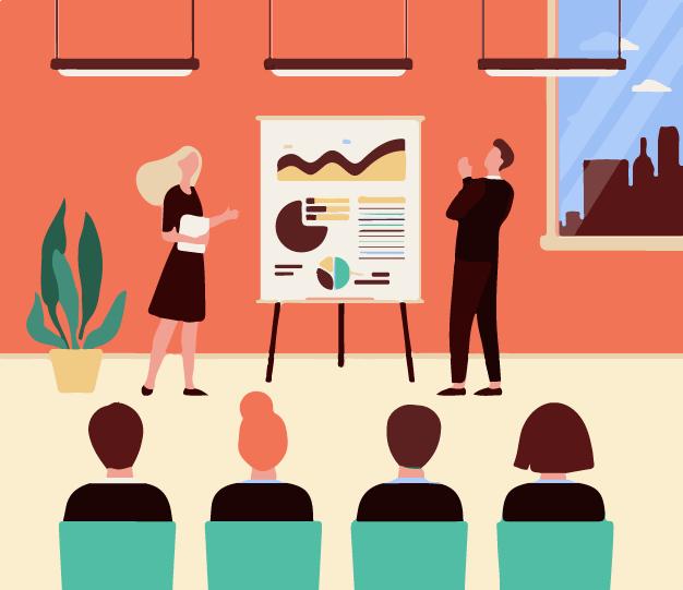 Employees attending a video presentation