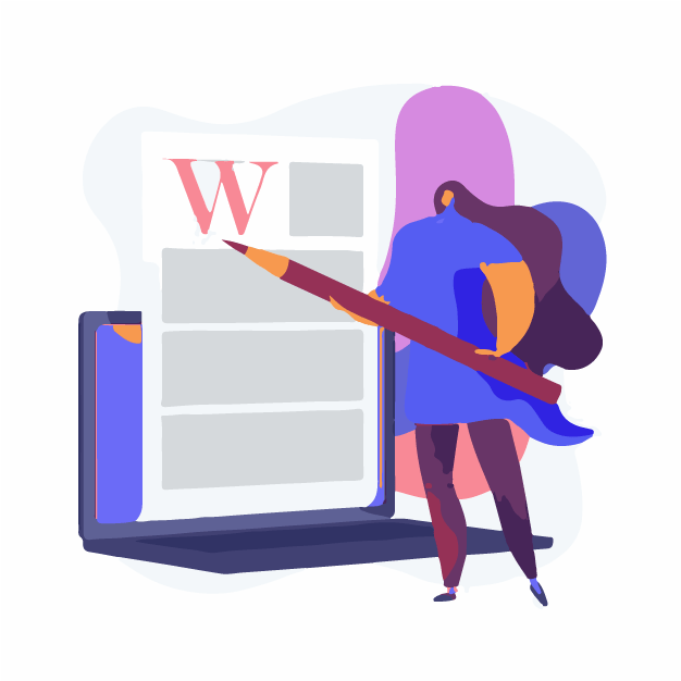 A lady using text editor
