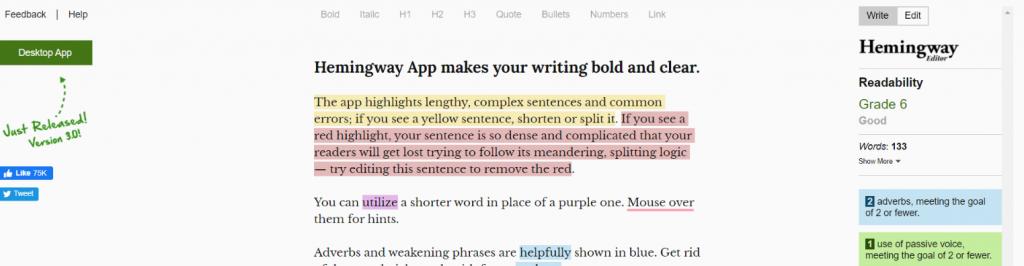 Hemingway Editor: Grammarly Alternative and Competitor