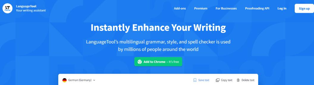 Language tool: Grammarly Alternative and Competitor