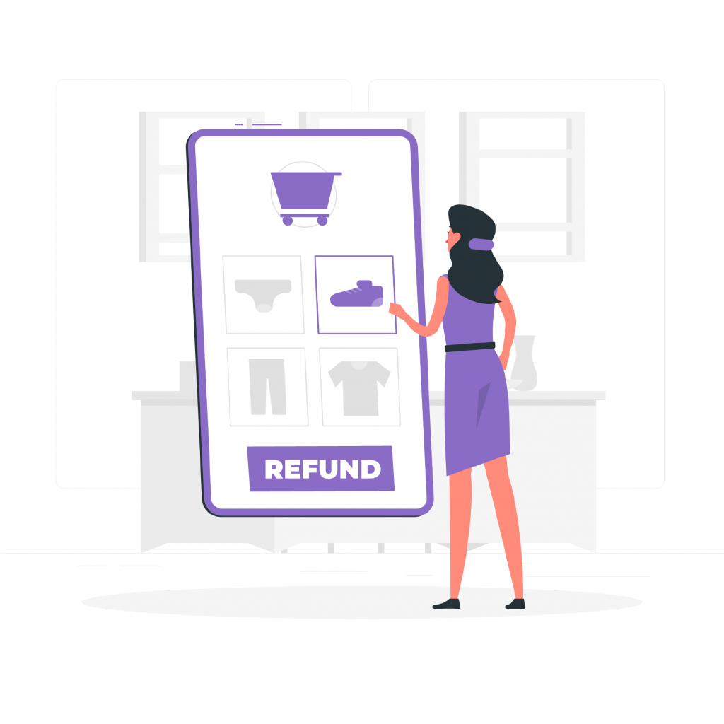 A lady looking at refund policy of an ecommerce store