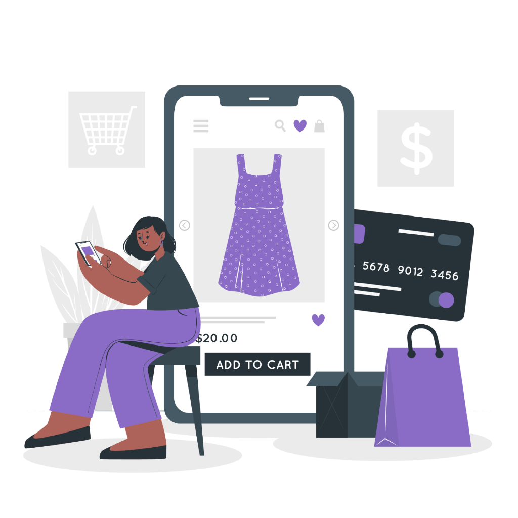 A lady browsing an ecommerce store