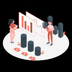 Team members analysing data