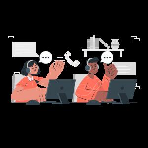 Team members communicating online