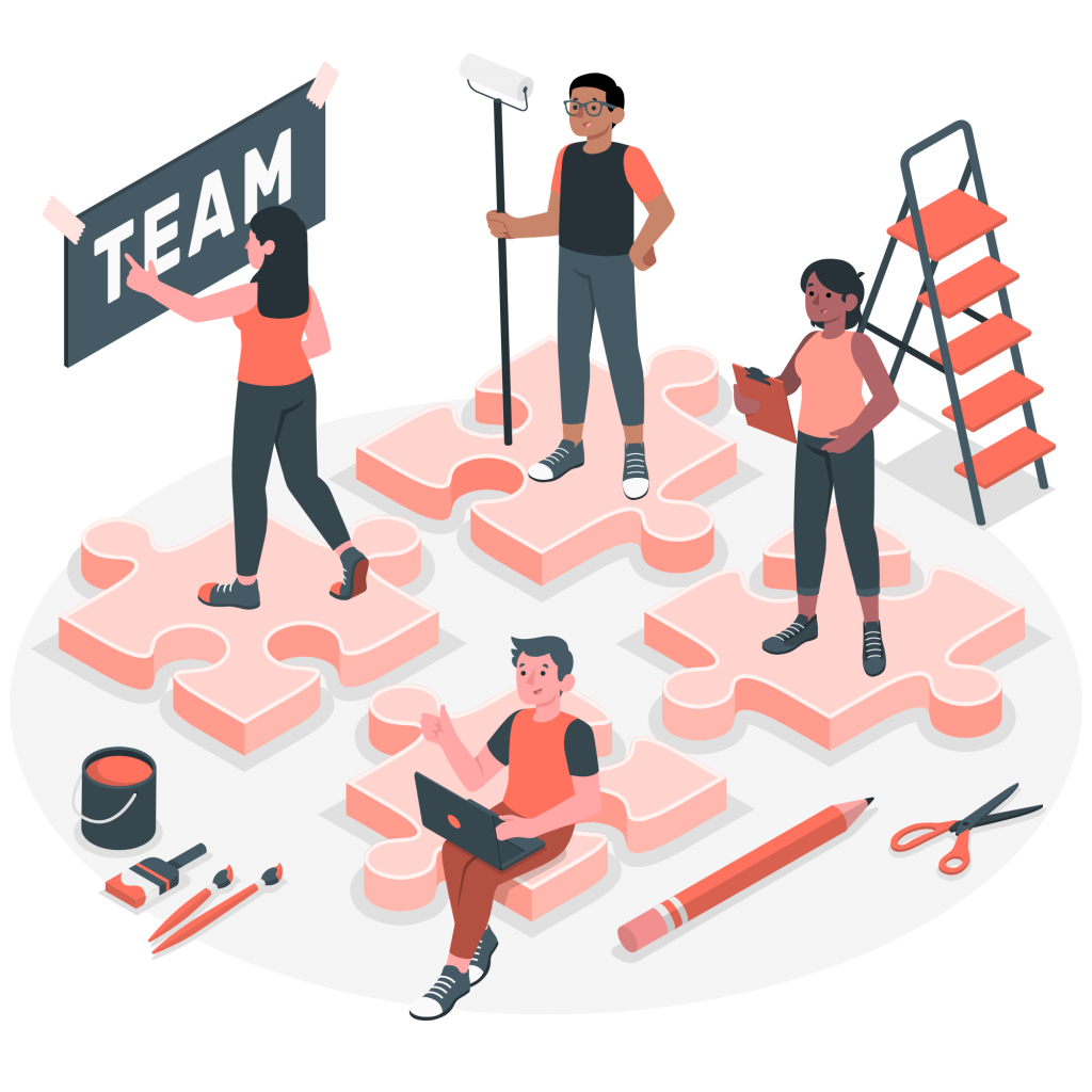 A team working together on a project