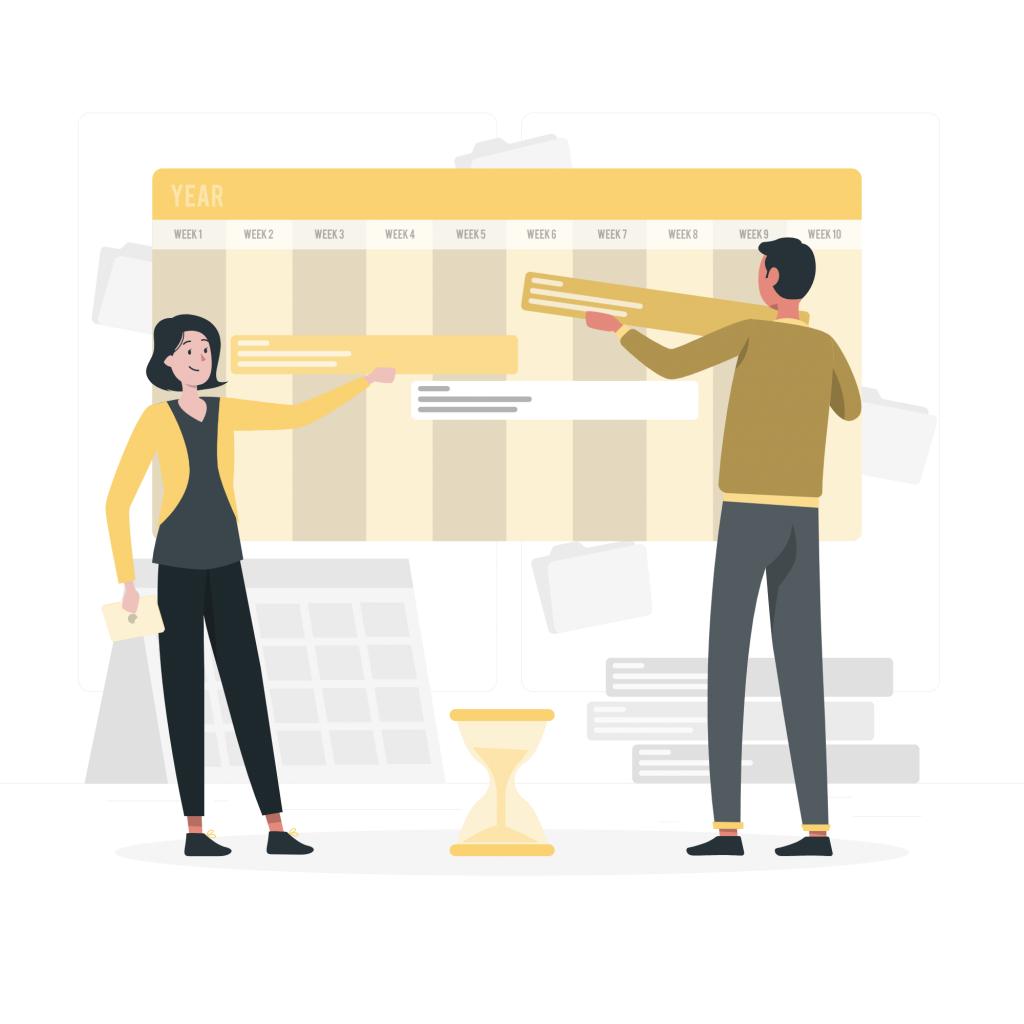 Employees creating a project timeline