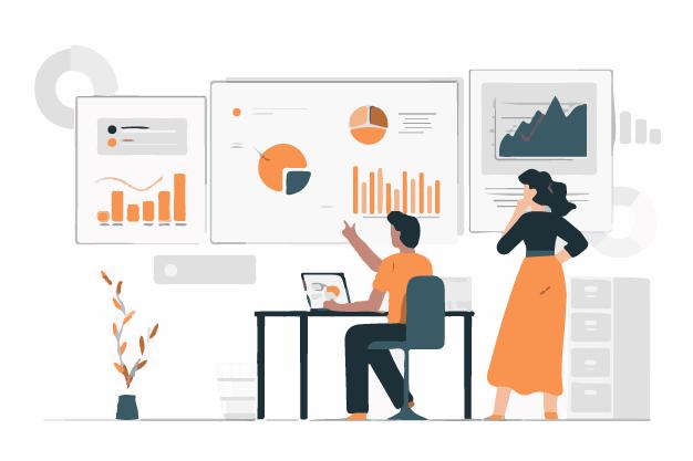 Employees analysing data