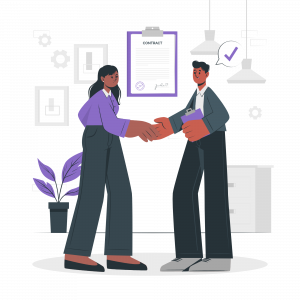 A vendor shaking hands with client after signing deal