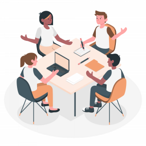 Employees discussing project ideas in a meeting