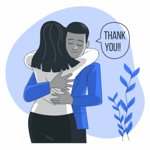 An employee thanking his colleagues before leaving the company
