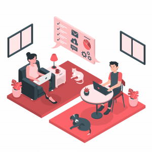 Employees working in a co-working space