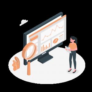 An employee analysing marketing report