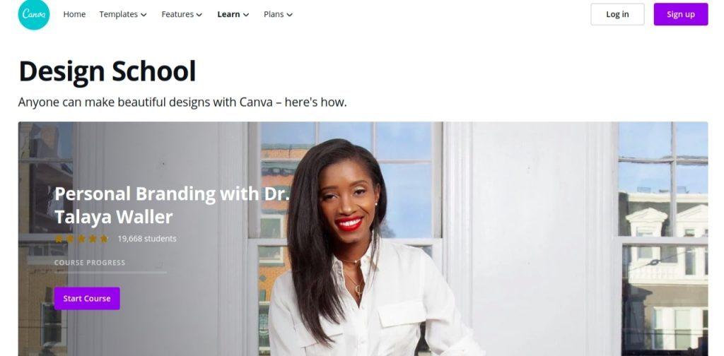 Design school by canva: Presentation blog and website