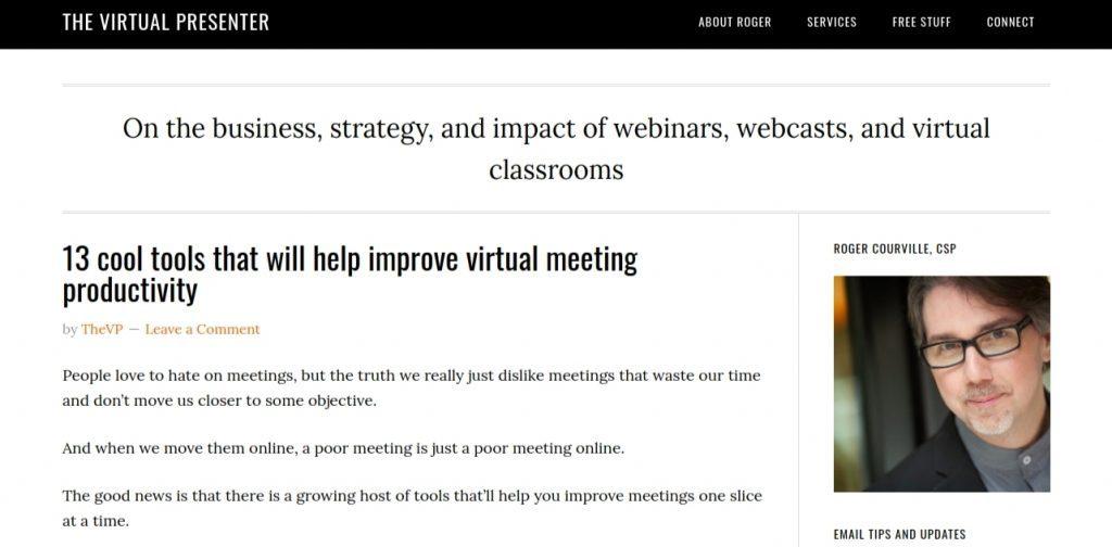 The virtual presenter: Presentation blog and website