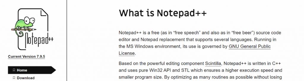 Notepad++: Text editor