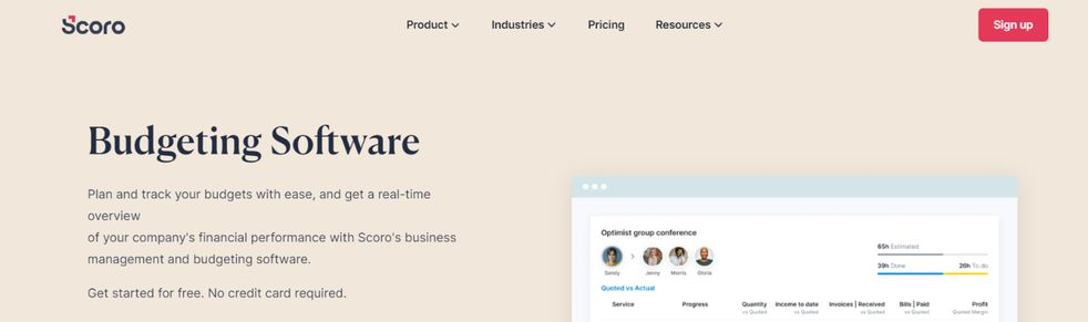 Scoro: Budgeting tool and software