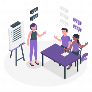 Team members segmenting data for better analysis