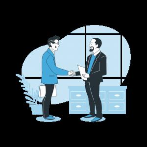 A man greeting a client