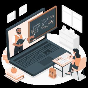 A student attending an online class